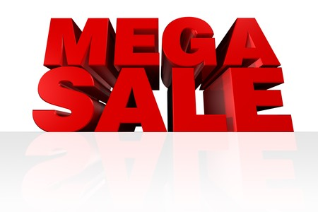 MEGA SALE 3D Headline rendered from a worms eye view