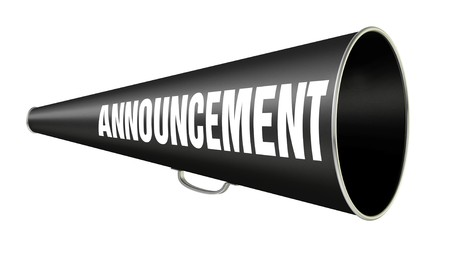 "black vintage megaphone with the word ""Announcement"" on the side isolated on white background Stockfoto"