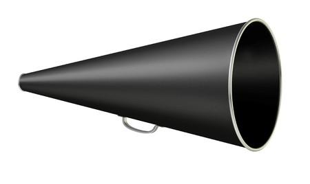 black vintage megaphone on white