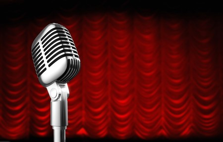 swag: 50s mic over red swag theater curtain background.