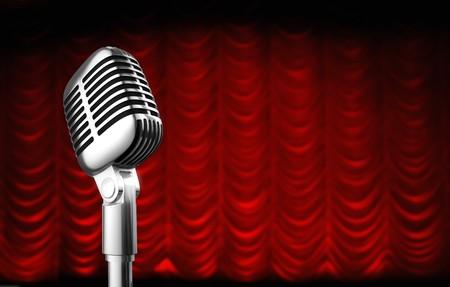 swag: de los a�os 50 micr�fono sobre fondo de cortina de teatro swag rojo.