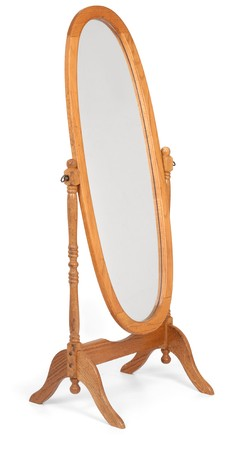 with reflection: Classic wooden full-length floor mirror shot on white background