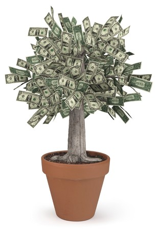 us money: High-resolution 3d render of a rooted tree with a thick stock that is growing currency for its leaves over a white background.  Stock Photo