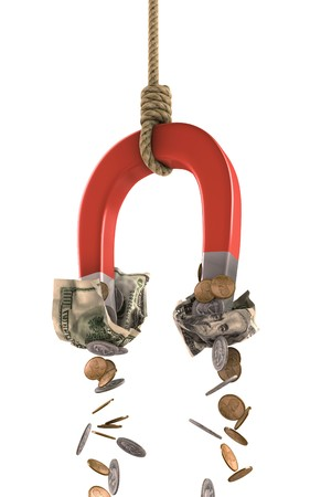 A horseshoe magnet tied to a rope collecting money over white.