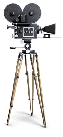 An old-fashoned movie camera on a tripod isolated on white.