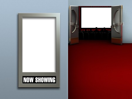 Interior of a movie theatre showing a blank movie poster frame and a blank movie screen with an audience photo