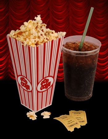 Popcorn, soda, & tickets isolated on white Stock Photo - 7053696