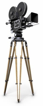 film camera: An old-fashoned movie camera on a tripod isolated on white.