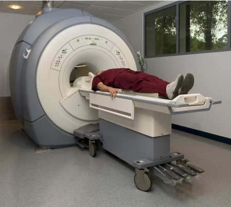 magnetic resonance imaging: Patient about to enter a magnetic resonance imaging machine