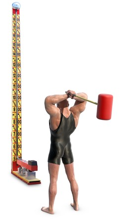 A Strongman with mallet striking a carnival strength test high-striker, isolated on white Stok Fotoğraf