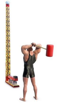 hombre fuerte: Un strongman con maza de golpear a una prueba de fuerza de Carnaval alta-delantero, aislados en blanco