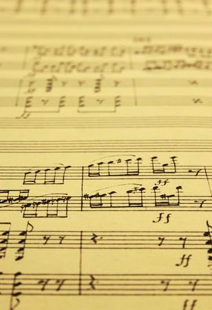 quintet: hand written music manuscript with selective focus