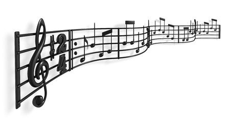 music score: A musical score waving and bending towards the camera Stock Photo