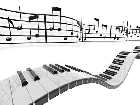 점수: A musical score waving and bending behind some piano keys over a white background. 스톡 사진