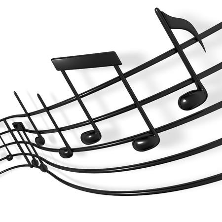 A musical score waving and bending towards the camera 版權商用圖片