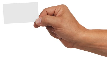 mans hand holding blank business card photo
