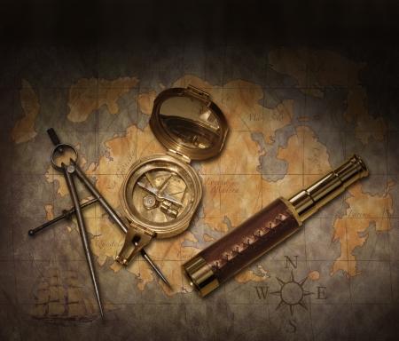 Vintage kaart met kompas en telescoop