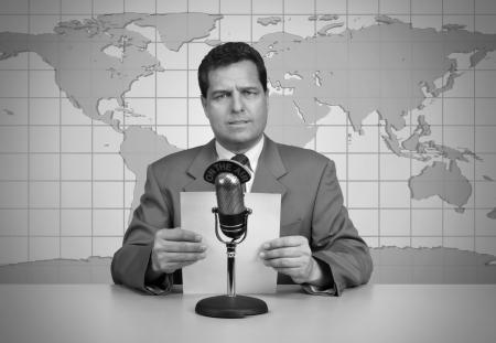 1950s era TV news anchor reading the news