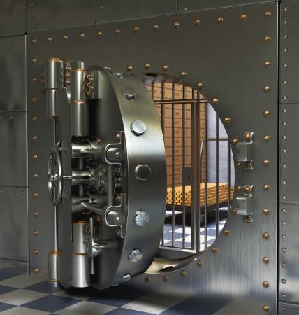 bank deposit: Opened Antique iron safe isolated on white background