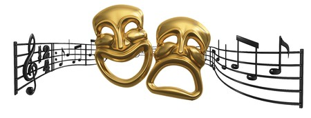 A musical score waving and bending behind iconic Comedy and Tragedy theatre masks Stock Photo