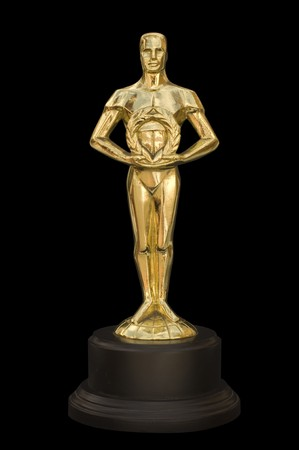 A gold figure reminiscent of an Academy Award photo