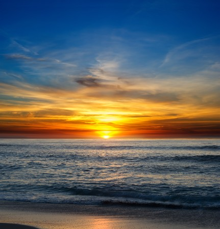 Sunset over the Pacific Ocean from La Jolla, California