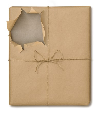 Brown paper package tied with string partially opened on a white background