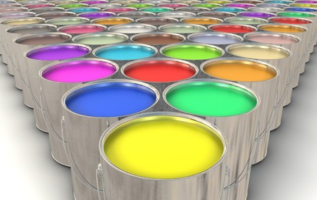 An infinite array of paint cans filled with colorful paint
