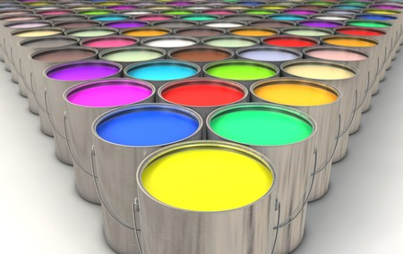 paints: An infinite array of paint cans filled with colorful paint