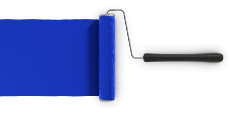 A paint roller putting a coat of paint on white