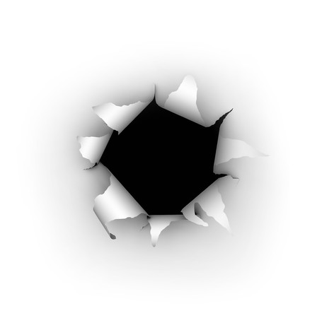 A hole being burst through a white background