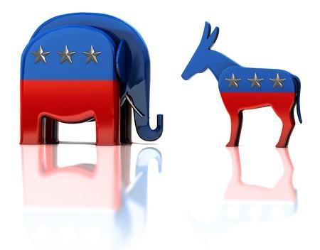 republican: Las mascotas de parte de republicanos y Dem�cratas aisladas en la superficie reflectante blanca  Editorial