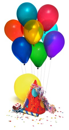 party hat, balloons, noisemaker, confetti on white photo