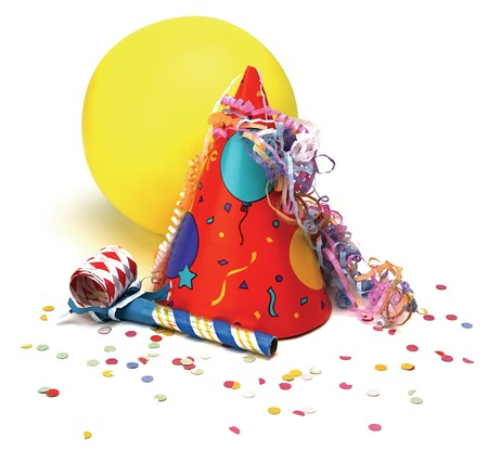 party hat: party hat, baloon, noisemaker, confetti on white