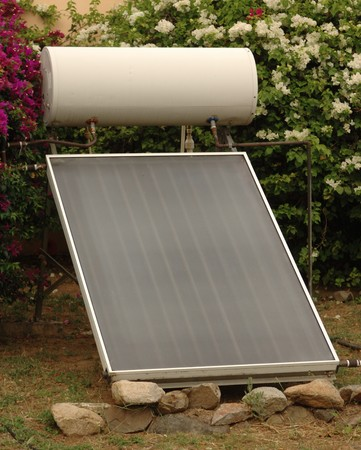 passive: Passive solar hot water heater Stock Photo