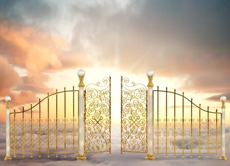 pearly gates: Pearly gates of heaven opening to a high altitude sunrise between two layers of clouds in a landscape orientation