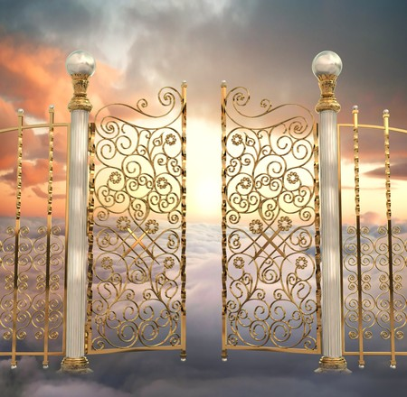 The pearly gates of Heaven being opened photo