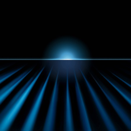 Techno perspective background with glowing horizon