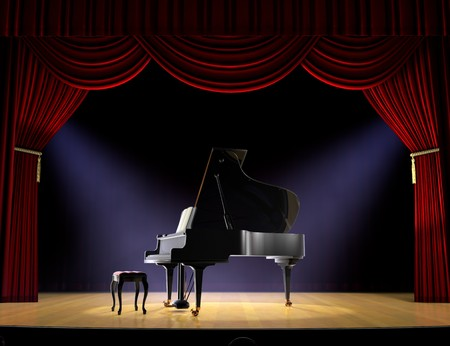 grand piano: Piano on theatre stage with red curtain and spotlights on the stage floor