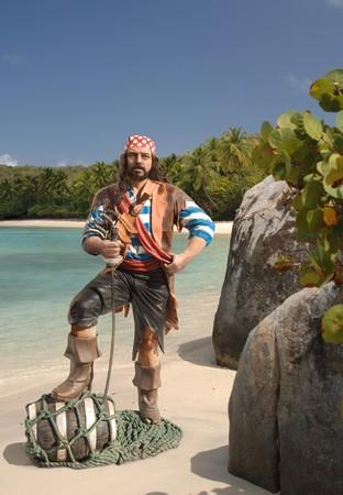 Piraat op een Caribische strand