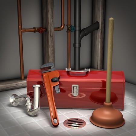 fontaneria: Caja de herramientas de fontaneros, �mbolo, llave de tuber�a y receptor de trampa en un piso de mosaico con tuber�as expuestas en segundo plano
