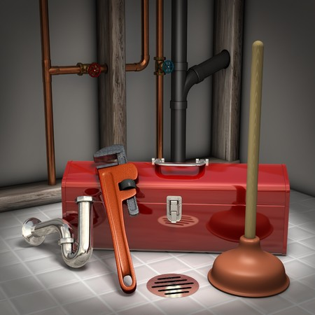 doityourself: Plumbers toolbox, plunger, pipe wrench and sink trap on a tiled floor with exposed pipes in the background Stock Photo