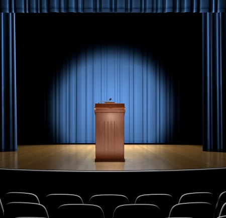 rebuttal: A podium in a spot light on stage.