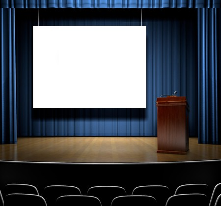 rebuttal: A Stage with a screen for copy and a podium.