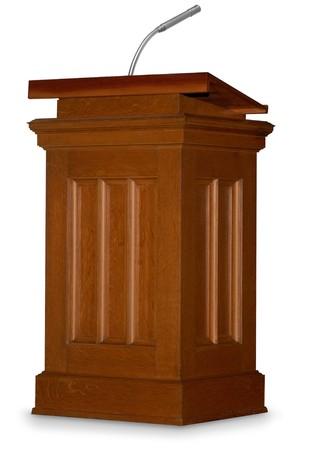 orator: Oak podium isolated on white background with microphone Stock Photo