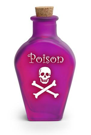 Bottle of poison on white background photo
