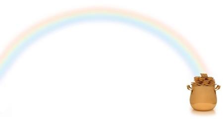 the end of a rainbow: olla de oro al final del arco iris en blanco  Foto de archivo