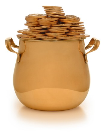 gold pot with gold coins on white photo