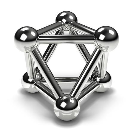 molecula: Un prot�n reflexivo 3d, que se muestra desde una vista interesante de sim�trico proyectando una sombra sobre la superficie blanca Foto de archivo