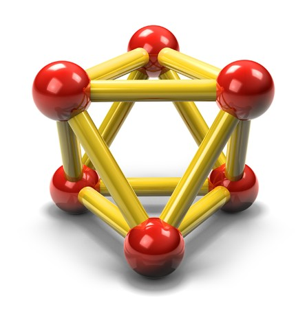 白い表面に影を落として興味深い左右対称の三角形ビューから示されている 3 d 反射陽子